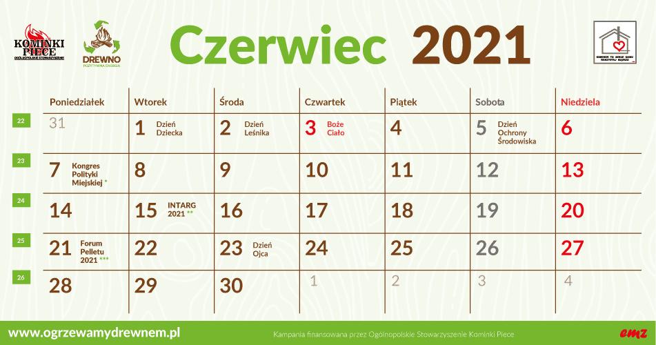 Kalendarz Użytkownika Kominka - czerwiec 2021