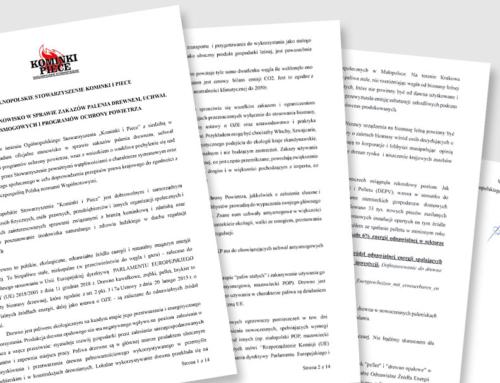 Oficjalne stanowisko w sprawie zakazów palenia drewnem, uchwał antysmogowych i programów ochrony powietrza